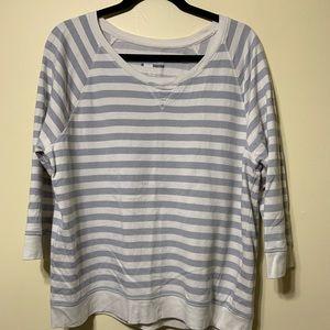 XL cream and gray stripe sweatshirt ladies
